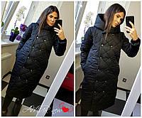 Куртка-пальто с капюшоном женская молодежная плащевка на синтепоне 510 СЕР-2, фото 1