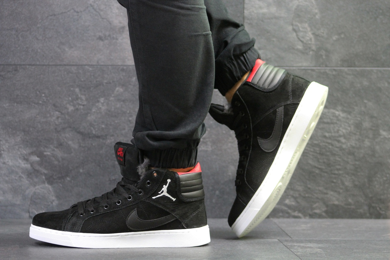 Зимние мужские кеды Nike Jordan замшевые на меху, молодежные высокие на шнурках (черные), ТОП-реплика