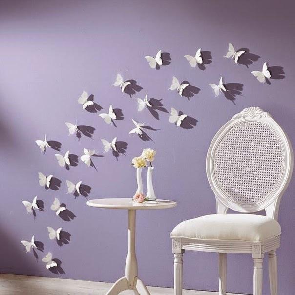 Об'ємні 3D метелики для декору однотонні білі