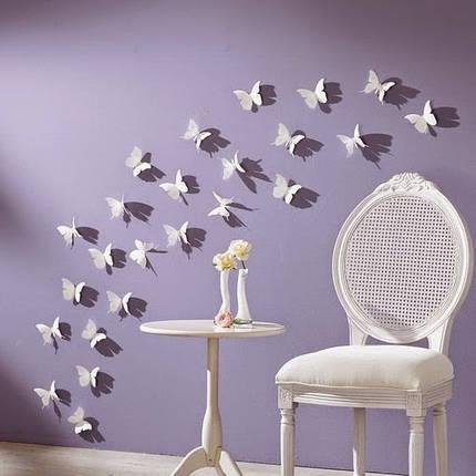 Об'ємні 3D метелики для декору однотонні білі, фото 2