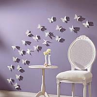 Объемные 3D бабочки для декора белые однотонные