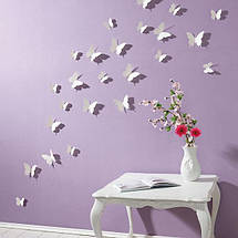 Об'ємні 3D метелики для декору однотонні білі, фото 3