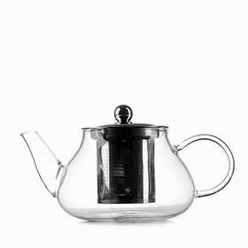 Чайник стеклянный заварочный с нержавеющим ситечком Helios 600 мл (6812)