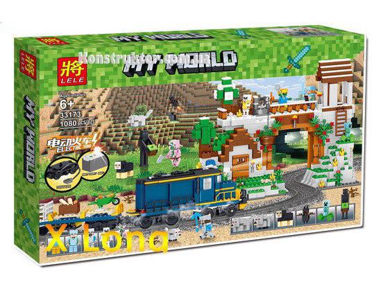 """Конструктор Lele 33173 """"Железнодорожная станция"""" Майнкрафт аналог Lego с мотором, 1080 деталей."""