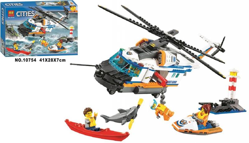 """Конструктор Bela 10754 """"Сверхмощный спасательный вертолёт"""" 439 деталей."""