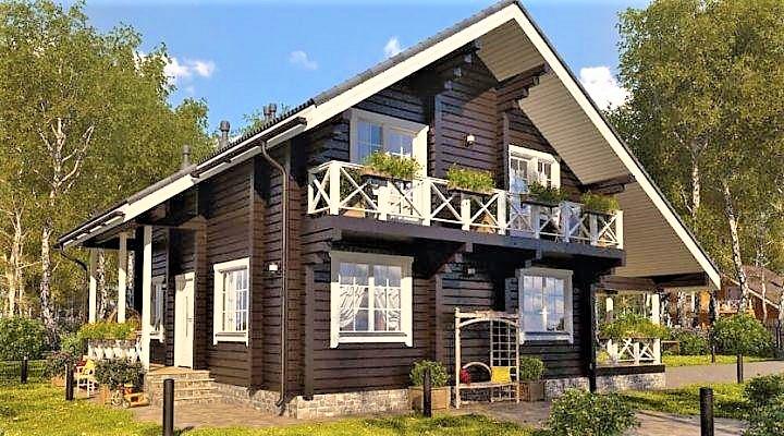 Деревянный двухэтажный дом из профилированного клееного бруса 12х10 м