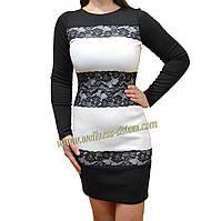 Платье черно-белое с кружевом, Venice р. 44-48