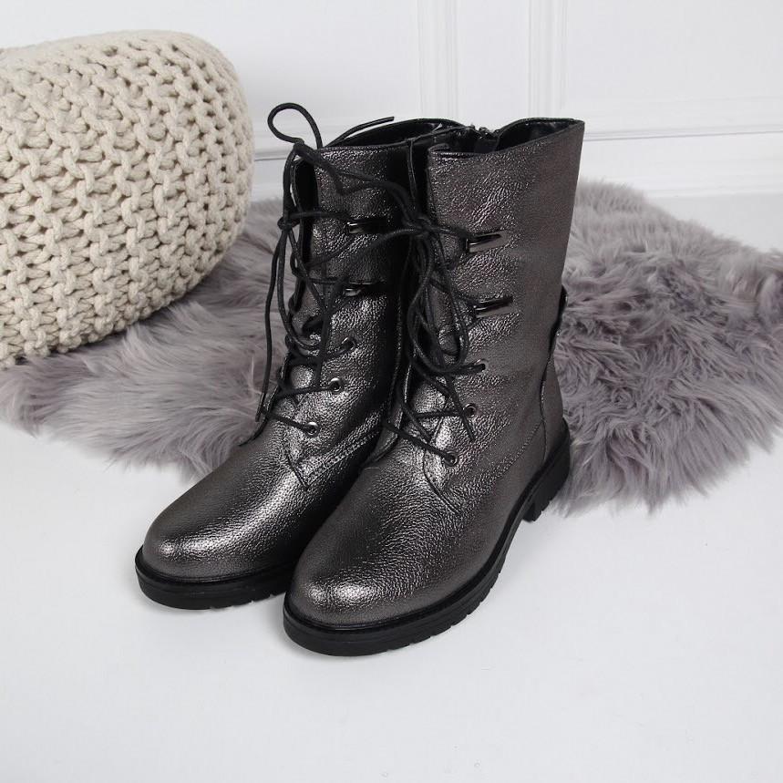 Ботинки зимние на шнуровке сбоку молния серебро