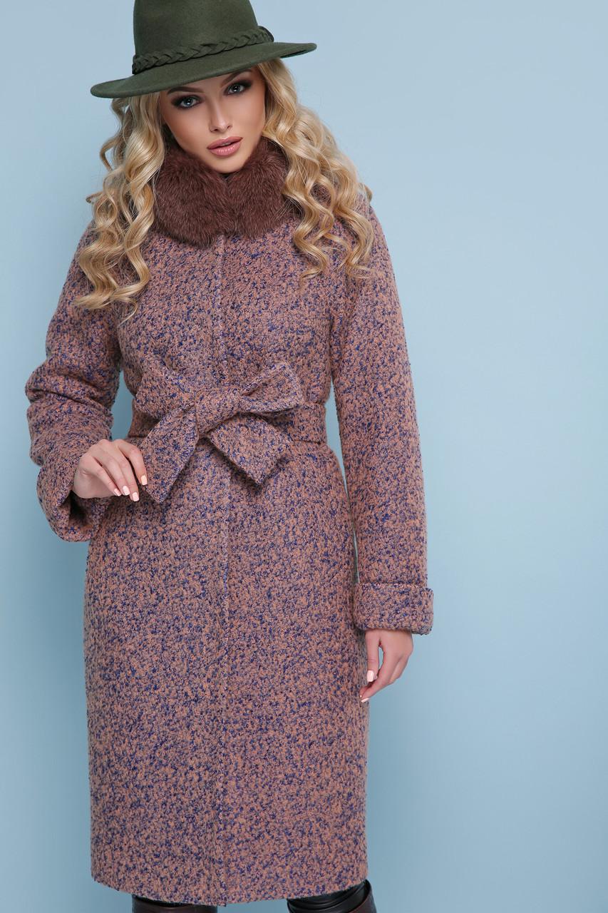 Женское зимнее пальто с меховым воротником розовое