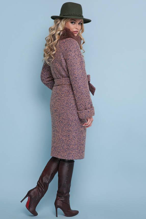 Женское зимнее пальто с меховым воротником розовое, фото 2