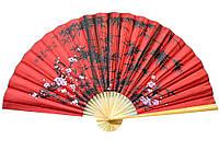 Веер настенный из шелка Сакура с бамбуком