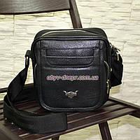 Мужская кожаная черная сумка ручной роботы. Производство Украина