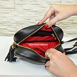 Кожаная черная женская сумка, ручная робота. Производство Украина, фото 3