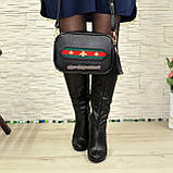 Кожаная черная женская сумка, ручная робота. Производство Украина, фото 4