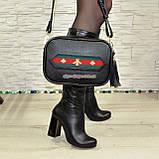 Кожаная черная женская сумка, ручная робота. Производство Украина, фото 5
