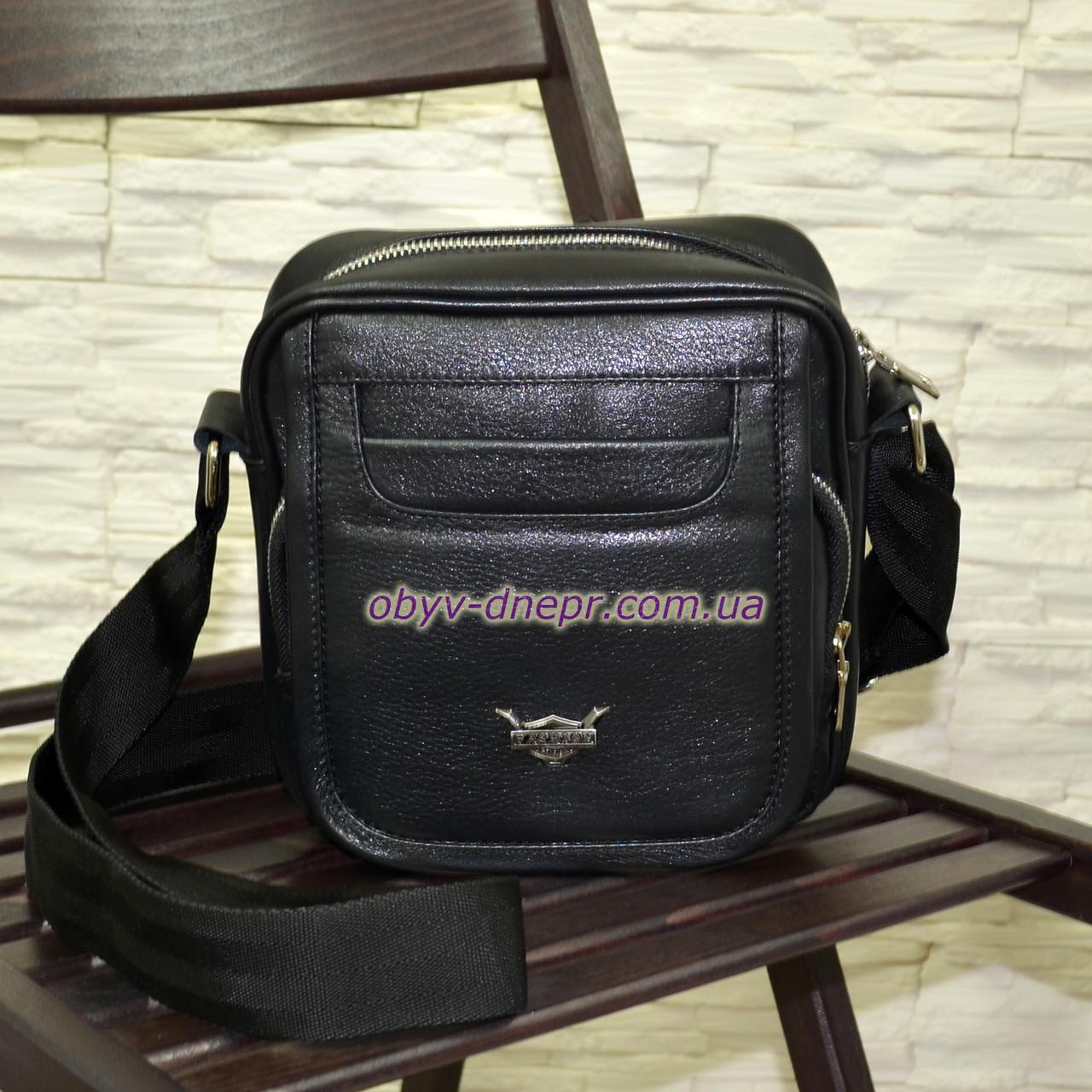 Чоловіча чорна шкіряна сумка ручної роботи. Виробництво Україна