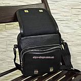 Чоловіча чорна шкіряна сумка ручної роботи. Виробництво Україна, фото 6