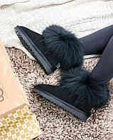 Женские угги в стиле UGG Australia Classic Mini Fur All Black