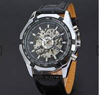 Часы механические Winner Skeleton, кожанный ремень, фото 1