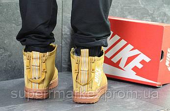Кроссовки в стиле Nike Air Force горчичные (зима). Код 6407, фото 2