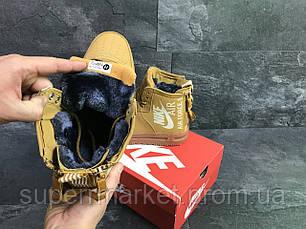 Кроссовки в стиле Nike Air Force горчичные (зима). Код 6407, фото 3
