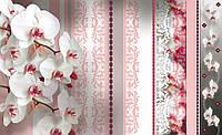 Фотообои флизелиновые на стену 312x219 см  : Орхидеи и розовые полоски CN1302