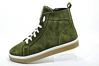 Женские зимние ботинки в стиле Lacoste, Хаки (на меху)
