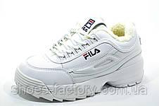 Белые зимние кроссовки в стиле Fila Disruptor 2 White\Белые (С мехом), фото 2