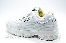 Белые зимние кроссовки в стиле Fila Disruptor 2 White\Белые (С мехом), фото 3