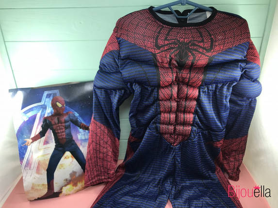 Костюм человека-паука с мускулами темный L M S с пластиковой маской, фото 2