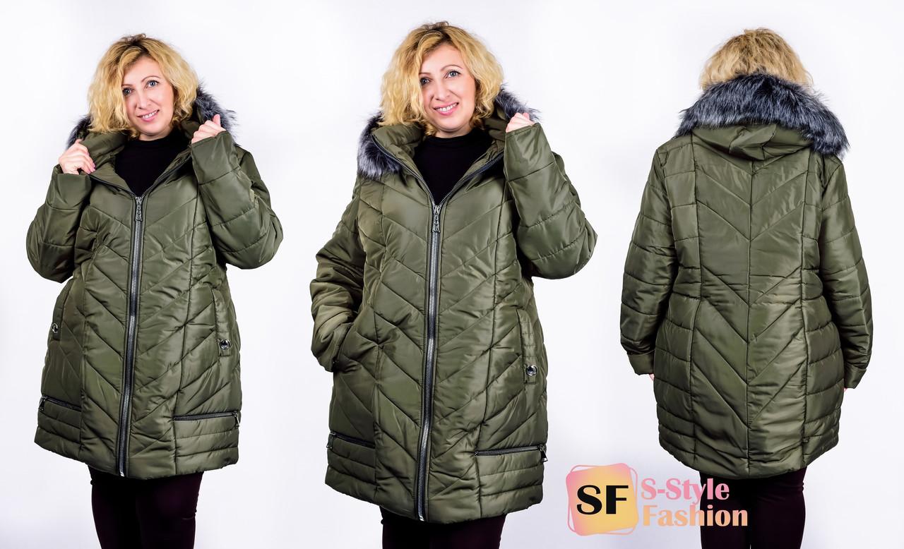 Зимняя куртка Маргарита 52-58 р хаки
