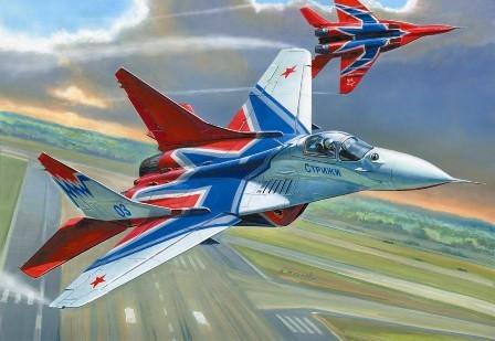 Сборная модель советского самолета МИГ-29 авиационная группа высшего пилотажа «СТРИЖИ». 1/72 ZVEZDA 7234