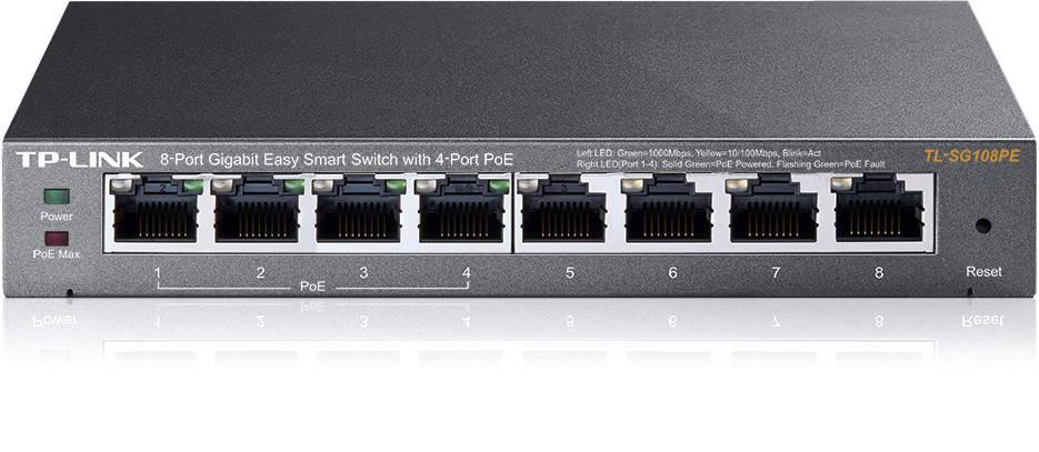 Коммутатор TP-Link TL-SG108PE (4xGE+4xGE PoE 55Вт max, easysmart, fan-less)