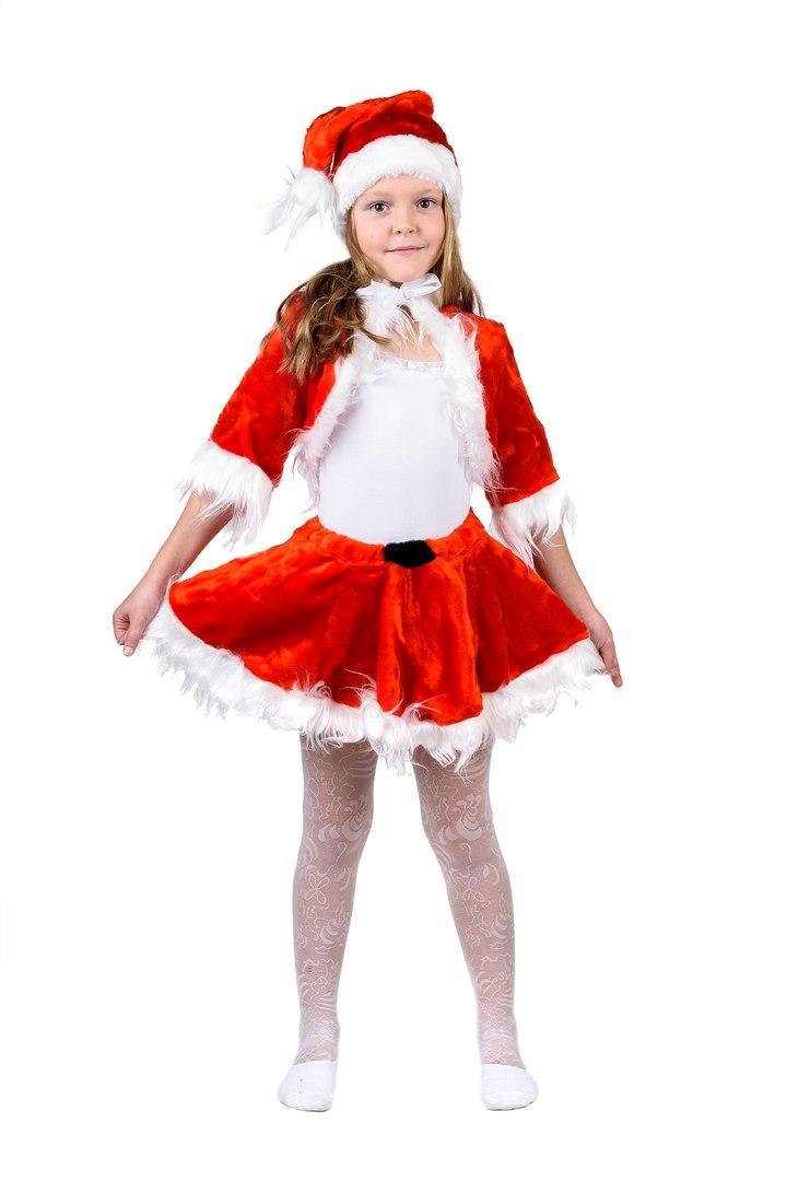 """Детский карнавальный меховой костюм """"Санта"""" для девочки"""