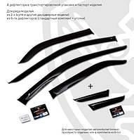 Дефлекторы окон ветровики на HYUNDAI ХУНДАЙ Хендай Santa Fe III 2012- (с хром молдингом)