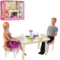 Набор кукол семья - кукла типа барби и кен в кафе, стол, посуда,аксессуары,серия кукол Дефа (Defa), 8387-BF