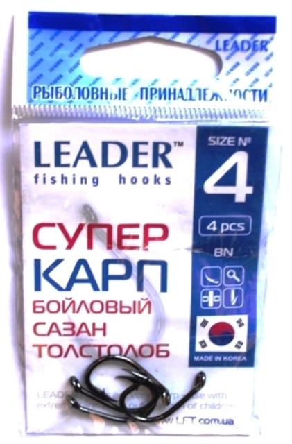 Крючки рыболовные Leader Супер карп BN №4, 4шт