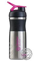 Спортивная бутылка-шейкер BlenderBottle SportMixer Stainless Steel Pink 820мл (из нержавеющей пищевой cтали) , фото 1