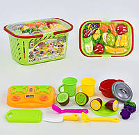Игровой набор с продуктами в корзине. 20 предметов
