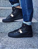 Кеды мужские SeanJohn осень евро зима высокие стильные качественные под джинсы (черные), ТОП-реплика