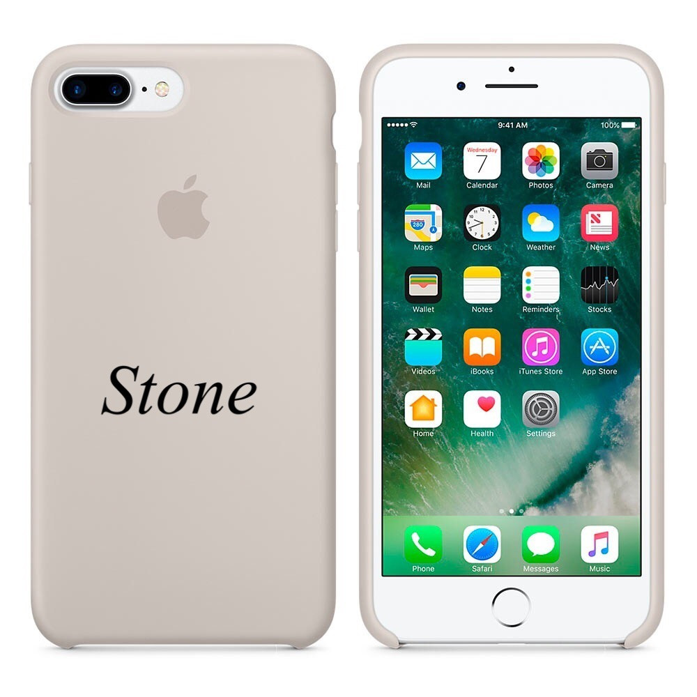 "Apple silicon case 7 Plus  "" Stone"""