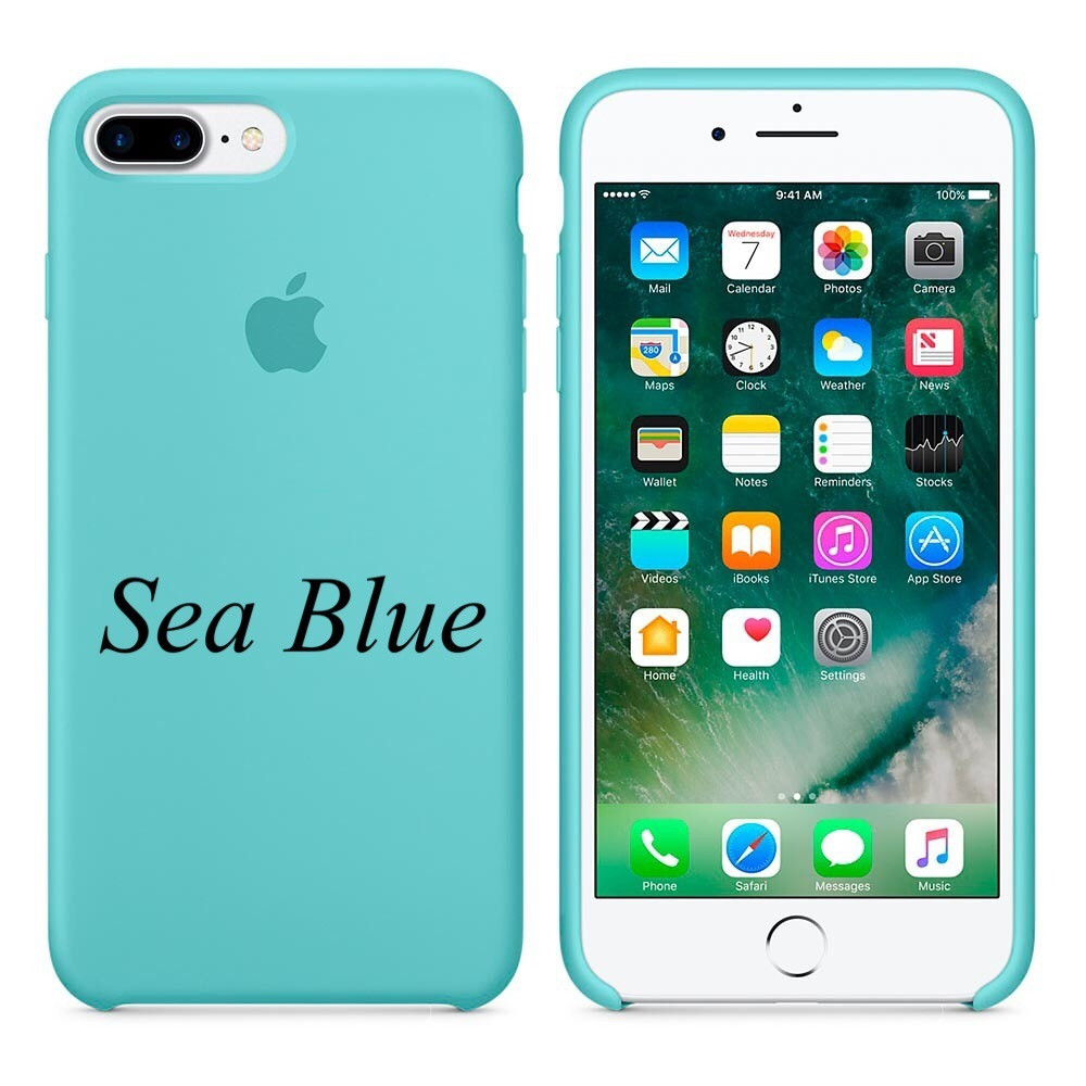 "Apple silicon case 7 Plus  "" Sea Blue"""