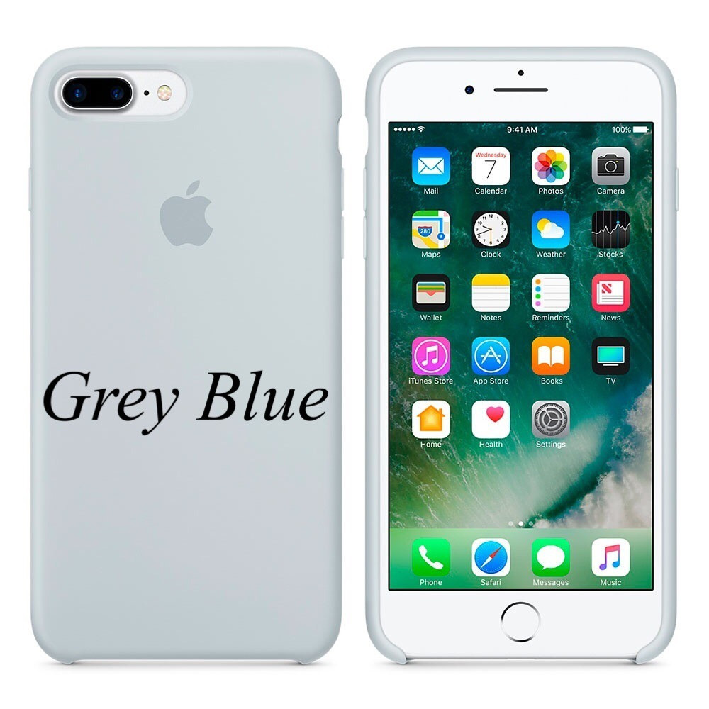 "Apple silicon case 7 Plus  "" Gray Blue"""