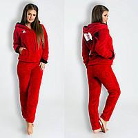 Красная стильная махровая женская пижама (домашний махровый женский костюм)  с ушками на капюшоне. eccd750eef043