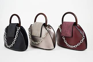 Женская сумка с цепочкой цвета бордо 8099., фото 3