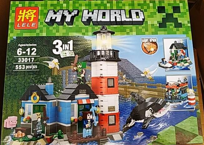 Конструктор Lele 33017 Minecraft Майнкрафт Маяк 3 в 1 553 деталей
