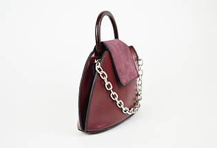 Женская сумка с цепочкой цвета бордо 8099., фото 2