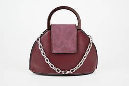 Женская сумка с цепочкой цвета бордо 8099.