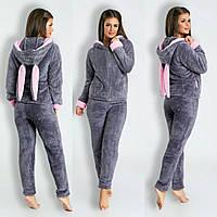 Серая стильная махровая женская пижама (домашний махровый женский костюм) с  ушками на капюшоне. 6807a3be4df95