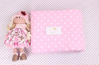 Фланелевая пеленка Горох на розовом
